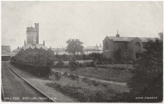Postcard by Alpha of St Albans showing Hill End Hospital with the railway tracks leading towards the hospital in the left foreground. Postmarked October 27th, 1904. | Copyright St Albans Museums