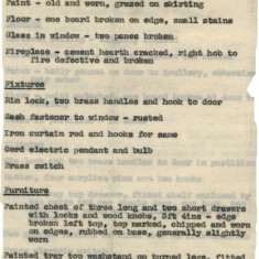 Record of condition of decoration, fixtures and furnishings in servants' rooms at Panshanger, near Hertford, 1940. The house was to be used for evacuees. | Hertfordshire Archives and Local Studies, Ref: D/EP E4/3