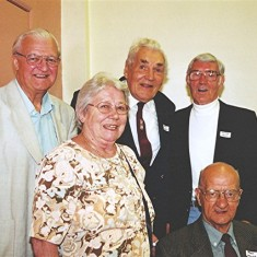 Left to right: Victor Webb, Ruth Peacock, Charlie Collett, George Henry, Jack Waller | Geoff Webb