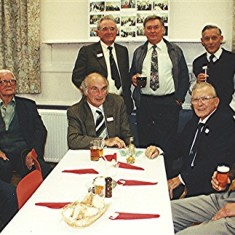 Left to right: Bob Reed, Arthur Pease, David Axtell, Malcolm Webb, Alan Anstee. Rear left to right: John Walker, Harry and Geoff Hobbs, Darley Webb | Geoff Webb