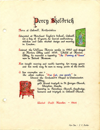 Percy Sheldrick's entry in the Welwyn Craftworkers Guild Book | HALS