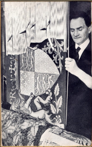 Percy Sheldrick working on a tapestry | Ashwell Museum