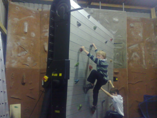 On the moving rock climbing wall