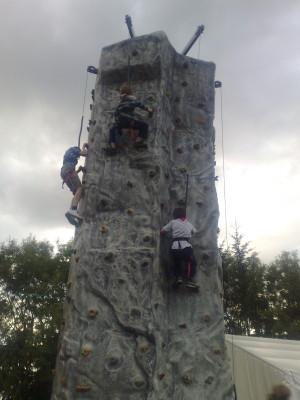 On the rock climbing wall