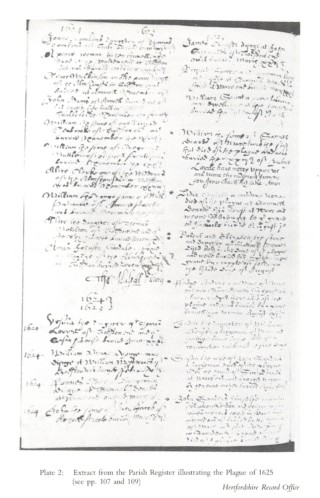 Extract from the Parish Register illustrating the plague of 1625 | Hertfordshire Record Office