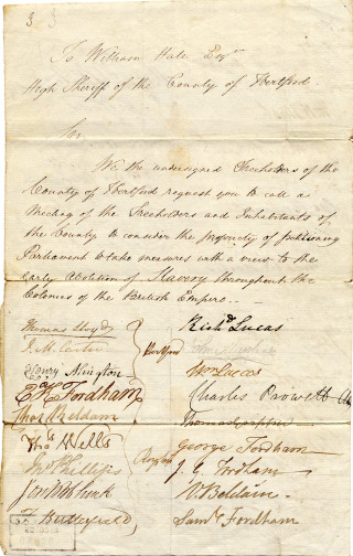 Petition from Hertford and North Herts re the abolition of slavery, 1830 | Hertfordshire Archives & Local Studies [Ref: 52860]
