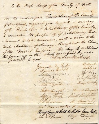 Petitions from Hemel Hempstead re the abolition of slavery, 1830 | Hertfordshire Archives & Local studies [Ref: 52858]