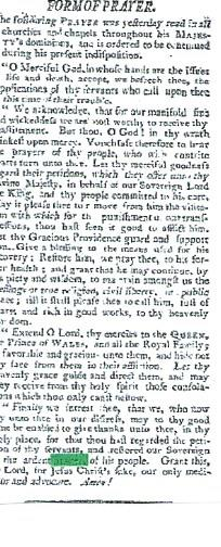 Prayer for the health of King George III |