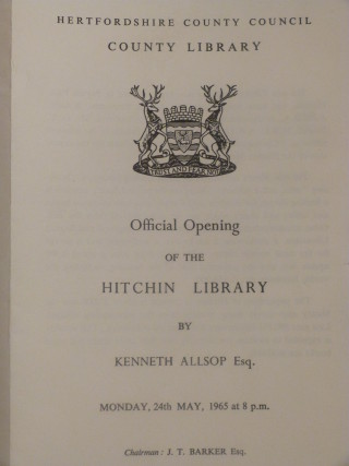 The official programme (courtesy of North Hertfordshire Museum Service)