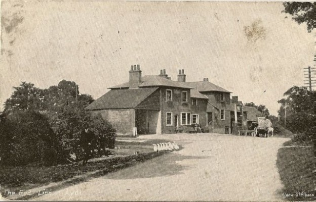 The Red Lion PH in 1905. At that time (before the A1(M) was built) this pub on the Great North Road was included in the parish of Ayot.