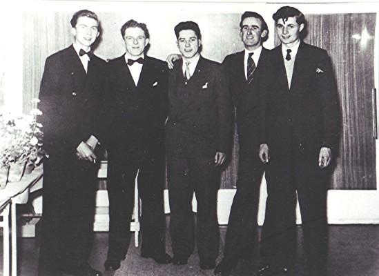 Left to right: John Hill, George Blair, Dick Fensom, Bob Benn, Stan Hill. | Geoff Webb