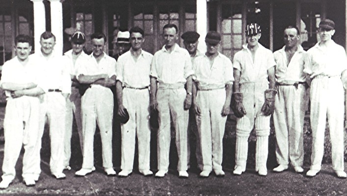 The Cricket Club Team in front of the pavilion c.1935 | Geoff Webb