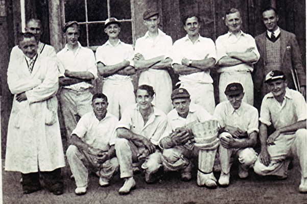 The Redbourn Cricket Club Team c.1948, along with the umpire and scorer. | Geoff Webb
