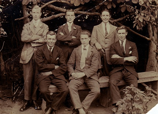 Rear, left to right:  -  , Jack Draper,  -  . Front, left to right: Ernest Brewer, Walter Collins,  -  . | Geoff Webb