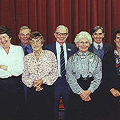 Helpers at the reunion: Left to right: Thelma Webb, Jean and Colin Smith, Jackie and Ernie Young, Olive and Derek Fellowes, Margaret and Geoff Webb | Geoff Webb