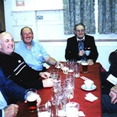 Left to right: Brian Halsey, Bob Humphries, Walter Rough, Hugh Green, Eric Neville, 'Mo' Smith, John Pidgeon   Geoff Webb