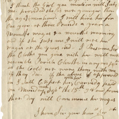The stigma of having a servant from the workhouse is evident from this letter in 1794 to Mr Sparks from Mr William concerning his servant. He is happy to hire her one year but says: