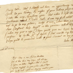 I quit!! Resignation letter of John Hay, gardener to Earl Cowper in 1741. He adds a