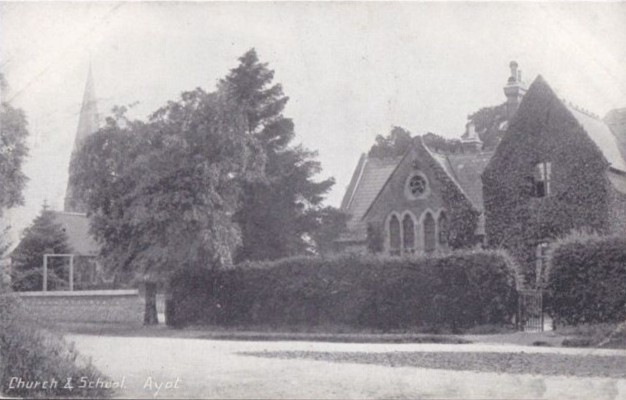 Ayot School and the schoolmaster's house (in the foreground) with the church behind