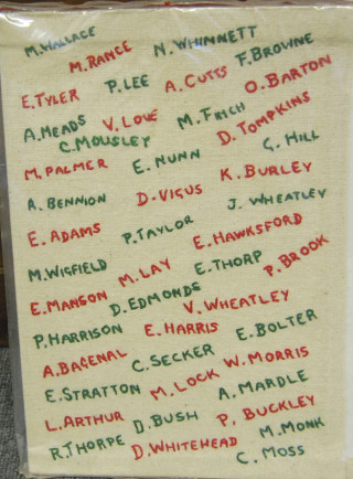 Embroidered names of the members