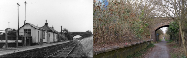 Many features of the old railway lines are still visible today - like this platform at the site of Smallford Station on The Alban Way | 1967 © T A Murphy, given by Stephen Castle and 2009 © St Albans Museums