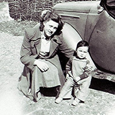 Babyminder Audrey Smith with young neighbour Neil Williamson in 1950. | Geoff Webb