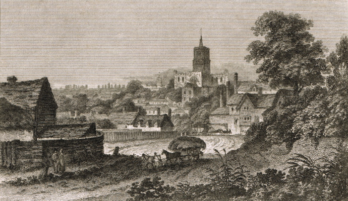 St Albans Abbey copper plate engraving 1809