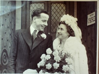 Our wedding 8th March 1947 at St Mary's Church, Blackheath