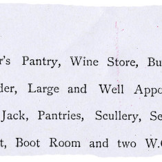 Description of domestic offices for a large house, sales particulars 1893 | Hertfordshire Archives and Local Studies