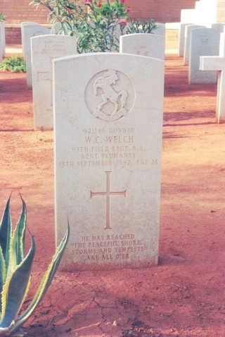 The permanent headstone that stands there today