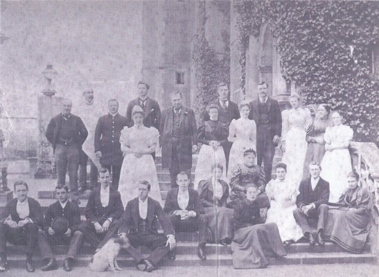This photograph of the domestic staff at Hatfield House in the 1890s was rescued from the dustbin of a local house a few years ago. The names of the 24 staff are not known but it includes the butler, housekeeper, cooks, footmen, valets, personal maids and parlour-maids. | Hatfield - A Pictorial History
