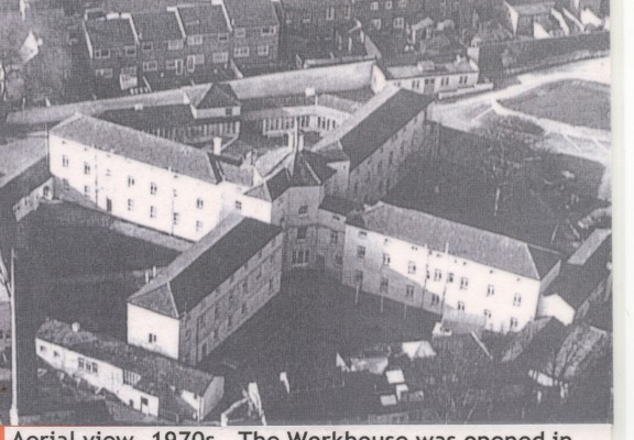 Aerial view, 1970s.  The workhouse was opened in 1839 | HALS