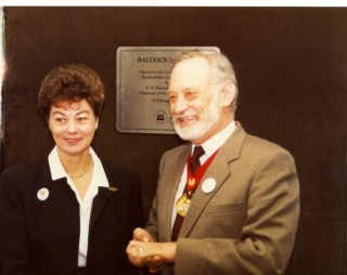 Baldock Librarian Sandra Penwright and Councillor Fred Peacock at the Opening of the new library