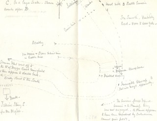 Sketches of the battle enclosed with the letter | Hertfordshire Archives and Local Studies, Ref: 87524-6