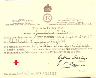 One of Gwen's wartime service certificates.