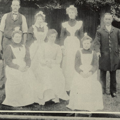 Staff of Shenley Rectory, 1890s. Gardener, Will Cole and Coachman, Joseph Treacher. Unfortunately, the female staff are unnamed. | The Book of Shenley