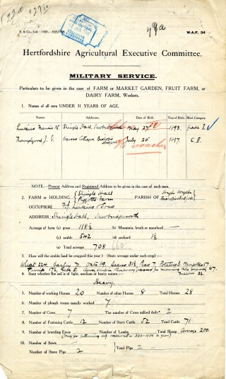 Military service form giving details of the farm (AEC/120 box 27) | Hertfordshire Archives and Local Studies