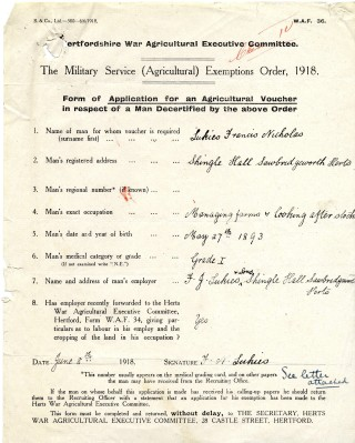 Military service (Agriculture) Excemption Order (AEC/120 box27) | Hertfordshire Archives and Local Studies