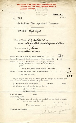 Giving details of occupiers and acreage of farm (AEC/120 box27) | Hertfordshire Archives and Local Studies