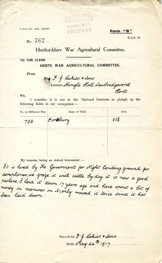 Reason for not ploughing up field 792 (AEC/120 box27) | Hertfordshire Archives and Local studies