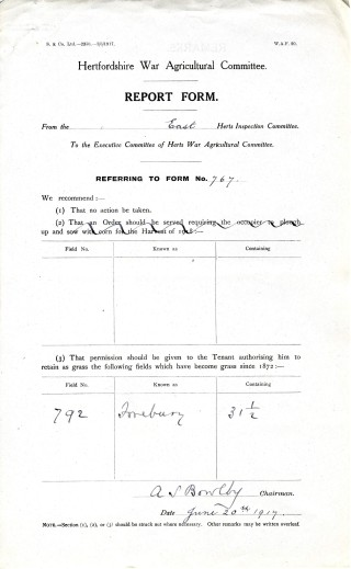 Report form telling them no action required in respct of field 792 (AEC/120 box27 | Hertfordshire Archives and Local Studies