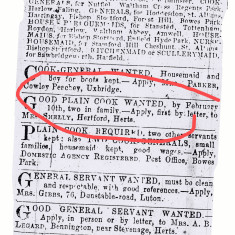 Adverts from Herts Mercury, 1907, showing an advert for a