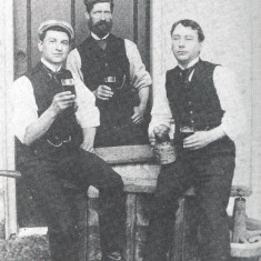 Staff at Lamer House, Wheathampstead, c. 1890s. Left to right; Charlie Bolter (groom,) Claude Tilbury (Gardener,) and Welbourne (Butler.) | George and Henry: Life and Times in Victorian Wheathampstead