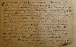 Part of the description of the Earl's 10th voyage.   Hertfordshire Archives and Local Studies