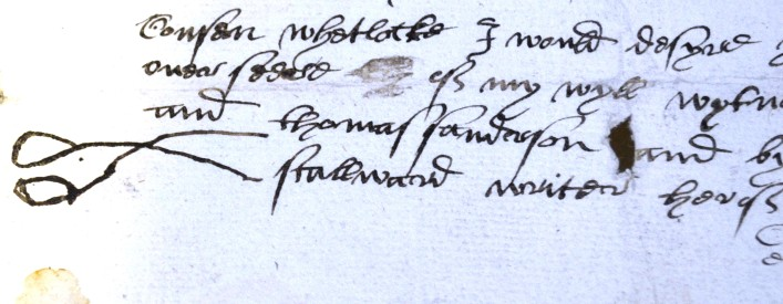 Thomas Hodgkinson's will of 1578, someone's mark was that of a pair of scissors. 19AW24 | Hertfordshire Archives and Local Studies