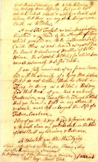 Thomas Colley Confession [DE/Lw/Z22/13] | Hertfordshire Archives and Local Studies