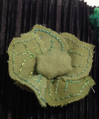 Started as a stumpwork cabbage but turned into a lettuce!   Felicity Marpole