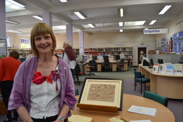 Julie Bodmer with her piece 'Threads of Time'   HALS