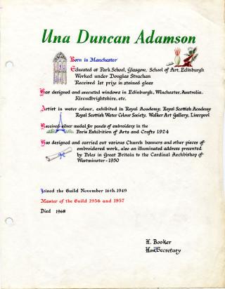 Una Duncan's Guild page | HALS