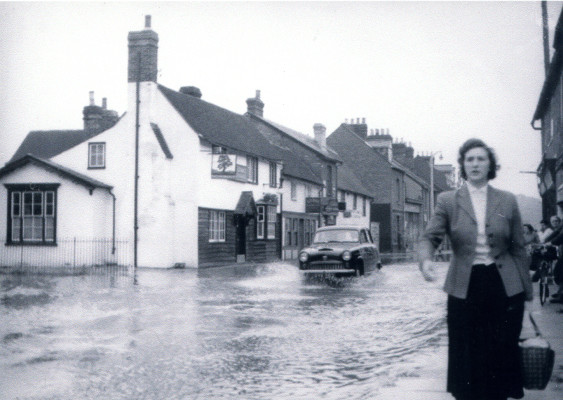 The flooded High Street of Stanstead Abbotts
